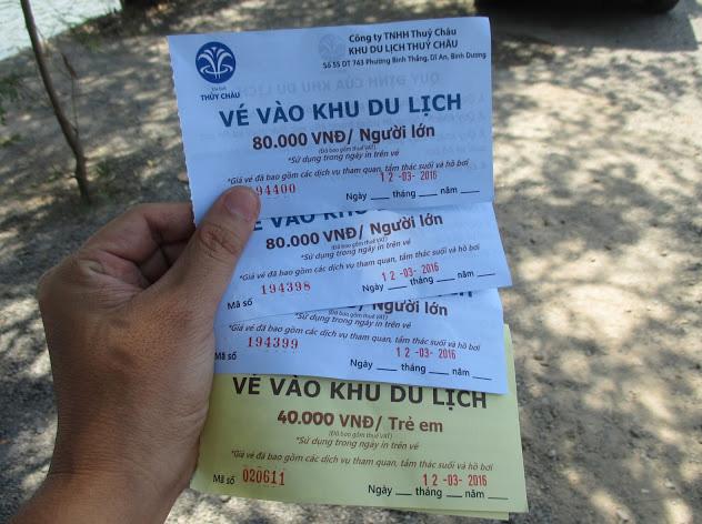 Giá vé vào cổng khu du lịch thủy châu